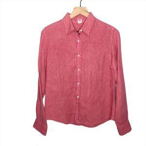Hartford Linen Ruffle Long Sleeve Button Top 3/M
